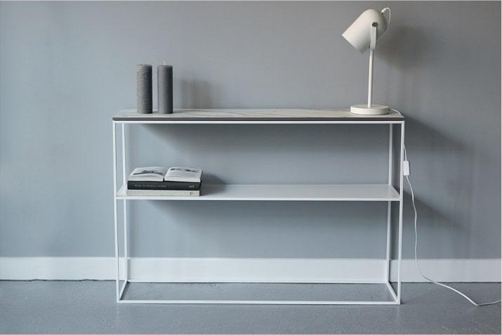 Biała konsola z półką i marmurowym blatem Stam Nordifra