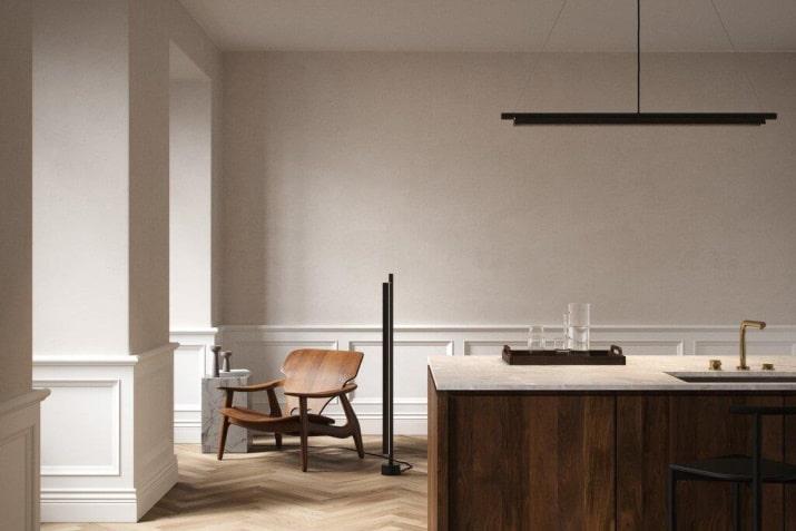 Czarna lampa liniowa wisząca SpaceB LED nad biurko i stół